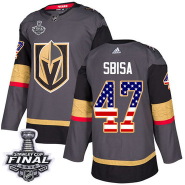 Adidas Golden Knights #47 Luca Sbisa Grey Home Authentic USA Flag 2018 Stanley Cup Final Stitched NHL Jersey