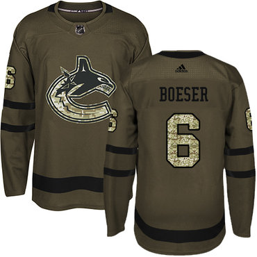 Adidas Vancouver Canucks #6 Brock Boeser Green Salute to Service Youth Stitched NHL Jersey