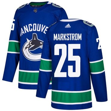 Adidas Vancouver Canucks #25 Jacob Markstrom Blue Home Authentic Youth Stitched NHL Jersey