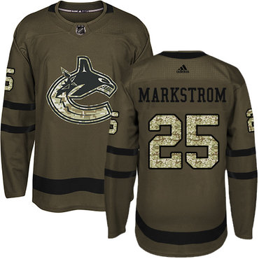 Adidas Vancouver Canucks #25 Jacob Markstrom Green Salute to Service Youth Stitched NHL Jersey