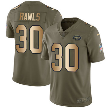 Youth Nike Jets #30 Thomas Rawls Olive Gold Stitched NFL Limited 2017 Salute to Service Jersey