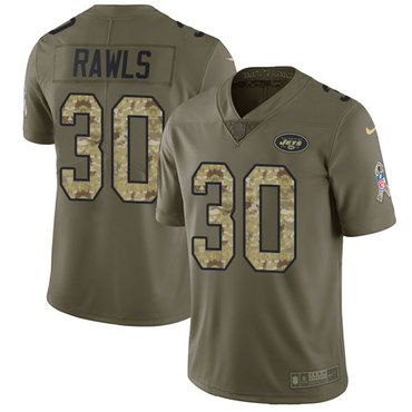 Youth Nike Jets #30 Thomas Rawls Olive Camo Stitched NFL Limited 2017 Salute to Service Jersey