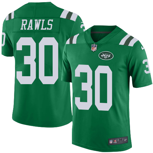 Youth Nike Jets #30 Thomas Rawls Green Stitched NFL Limited Rush Jersey