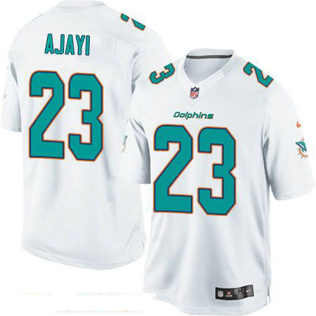 Men's Miami Dolphins #23 Jay Ajayi White Road Stitched NFL Nike Game Jersey