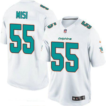 Men's Miami Dolphins #55 Koa Misi White Road Stitched NFL Nike Game Jersey