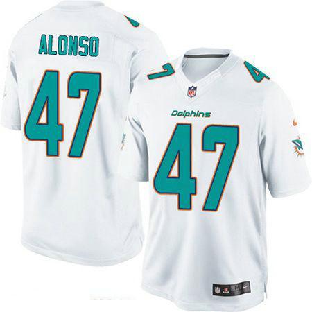 Men's Miami Dolphins #47 Kiko Alonso White Road Stitched NFL Nike Game Jersey