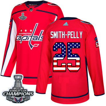 Adidas Washington Capitals #25 Devante Smith-Pelly Red Home Authentic USA Flag Stanley Cup Final Champions Stitched NHL Jersey