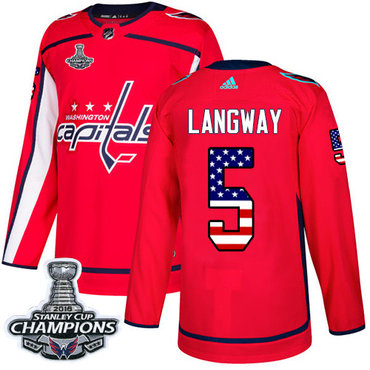Adidas Washington Capitals #5 Rod Langway Red Home Authentic USA Flag Stanley Cup Final Champions Stitched NHL Jersey
