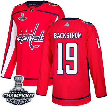 Adidas Washington Capitals #19 Nicklas Backstrom Red Home Authentic Stanley Cup Final Champions Stitched NHL Jersey