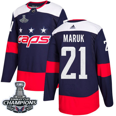 Adidas Washington Capitals #21 Dennis Maruk Navy Authentic 2018 Stadium Series Stanley Cup Final Champions Stitched NHL Jersey