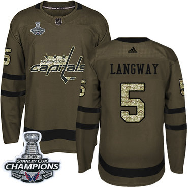 Adidas Washington Capitals #5 Rod Langway Green Salute to Service Stanley Cup Final Champions Stitched NHL Jersey