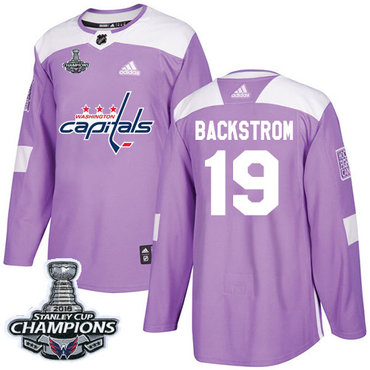 Adidas Washington Capitals #19 Nicklas Backstrom Purple Authentic Fights Cancer Stanley Cup Final Champions Stitched NHL Jersey