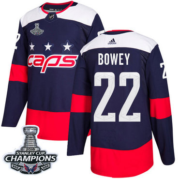 Adidas Washington Capitals #22 Madison Bowey Navy Authentic 2018 Stadium Series Stanley Cup Final Champions Stitched NHL Jersey