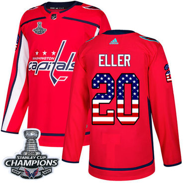 Adidas Washington Capitals #20 Lars Eller Red Home Authentic USA Flag Stanley Cup Final Champions Stitched NHL Jersey