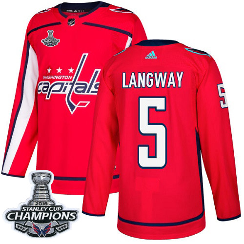 Adidas Washington Capitals #5 Rod Langway Red Home Authentic Stanley Cup Final Champions Stitched NHL Jersey
