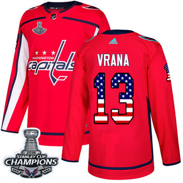 Adidas Washington Capitals #13 Jakub Vrana Red Home Authentic USA Flag Stanley Cup Final Champions Stitched NHL Jersey