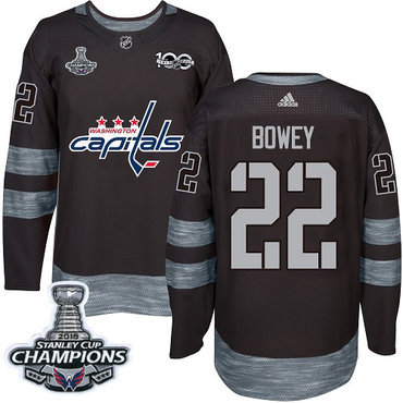 Adidas Washington Capitals #22 Madison Bowey Black 1917-2017 100th Anniversary Stanley Cup Final Champions Stitched NHL Jersey