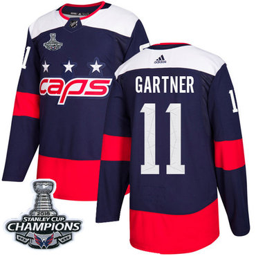Adidas Washington Capitals #11 Mike Gartner Navy Authentic 2018 Stadium Series Stanley Cup Final Champions Stitched NHL Jersey