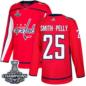 Adidas Washington Capitals #25 Devante Smith-Pelly Red Home Authentic Stanley Cup Final Champions Stitched NHL Jersey
