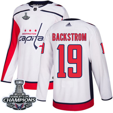 Adidas Washington Capitals #19 Nicklas Backstrom White Road Authentic Stanley Cup Final Champions Stitched NHL Jersey