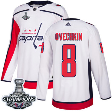 Adidas Washington Capitals #8 Alex Ovechkin White Road Authentic Stanley Cup Final Champions Stitched NHL Jersey