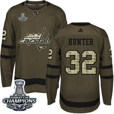 Adidas Washington Capitals #32 Dale Hunter Green Salute to Service Stanley Cup Final Champions Stitched NHL Jersey