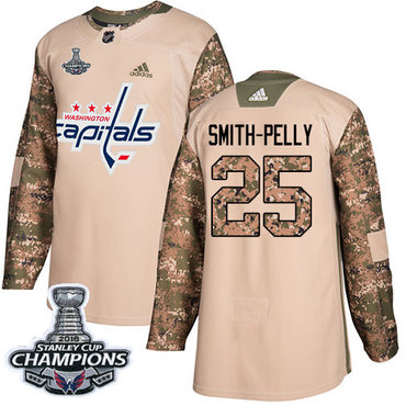 Adidas Washington Capitals #25 Devante Smith-Pelly Camo Authentic 2017 Veterans Day Stanley Cup Final Champions Stitched NHL Jersey