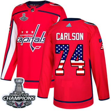 Adidas Washington Capitals #74 John Carlson Red Home Authentic USA Flag Stanley Cup Final Champions Stitched NHL Jersey