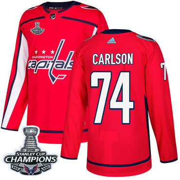 Adidas Washington Capitals #74 John Carlson Red Home Authentic Stanley Cup Final Champions Stitched NHL Jersey