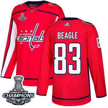 Adidas Washington Capitals #83 Jay Beagle Red Home Authentic Stanley Cup Final Champions Stitched NHL Jersey