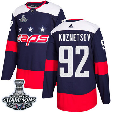 Adidas Washington Capitals #92 Evgeny Kuznetsov Navy Authentic 2018 Stadium Series Stanley Cup Final Champions Stitched NHL Jersey