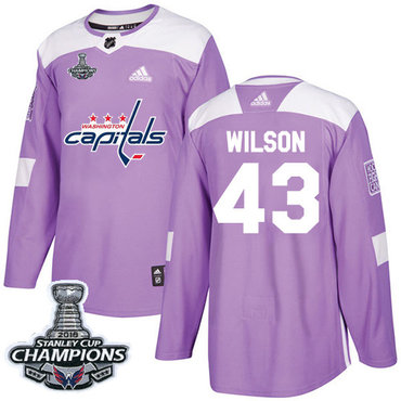 Adidas Washington Capitals #43 Tom Wilson Purple Authentic Fights Cancer Stanley Cup Final Champions Stitched NHL Jersey