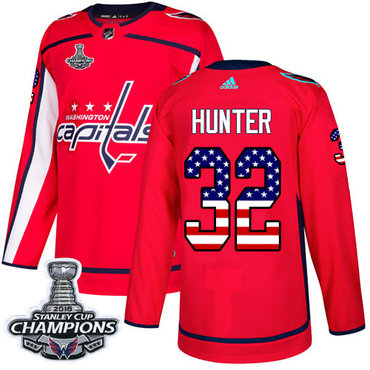 Adidas Washington Capitals #32 Dale Hunter Red Home Authentic USA Flag Stanley Cup Final Champions Stitched NHL Jersey