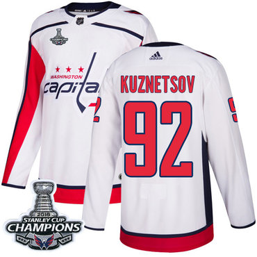 Adidas Washington Capitals #92 Evgeny Kuznetsov White Road Authentic Stanley Cup Final Champions Stitched NHL Jersey