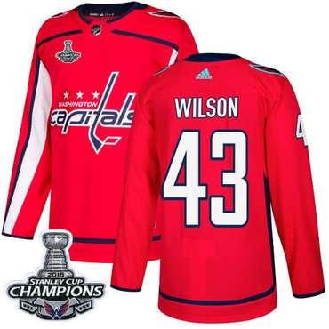 Adidas Washington Capitals #43 Tom Wilson Red Home Authentic Stanley Cup Final Champions Stitched NHL Jersey