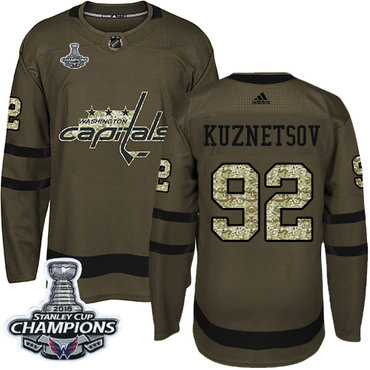 Adidas Washington Capitals #92 Evgeny Kuznetsov Green Salute to Service Stanley Cup Final Champions Stitched NHL Jersey