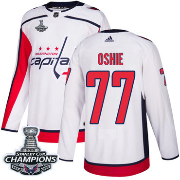 Adidas Washington Capitals #77 T.J. Oshie White Road Authentic Stanley Cup Final Champions Stitched NHL Jersey