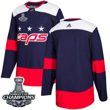 Adidas Washington Capitals Blank Navy Authentic 2018 Stadium Series Stanley Cup Final Champions Stitched NHL Jersey