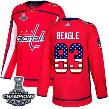 didas Washington Capitals #83 Jay Beagle Red Home Authentic USA Flag Stanley Cup Final Champions Stitched NHL Jersey