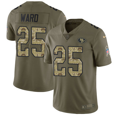 Nike 49ers #25 Jimmie Ward Olive Camo Men's Stitched NFL Limited 2017 Salute To Service Jersey