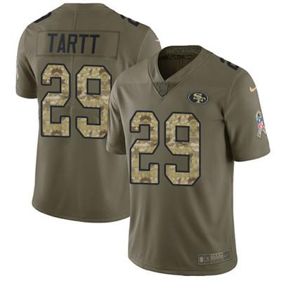 Nike 49ers #29 Jaquiski Tartt Olive Camo Men's Stitched NFL Limited 2017 Salute To Service Jersey