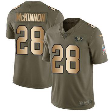 Nike 49ers #28 Jerick McKinnon Olive Gold Men's Stitched NFL Limited 2017 Salute To Service Jersey