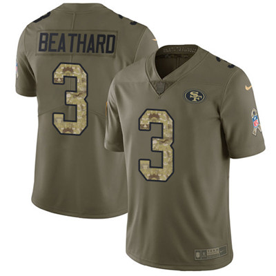 Nike 49ers #3 C.J. Beathard Olive Camo Men's Stitched NFL Limited 2017 Salute To Service Jersey