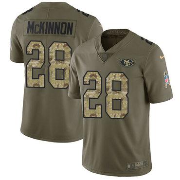 Nike 49ers #28 Jerick McKinnon Olive Camo Men's Stitched NFL Limited 2017 Salute To Service Jersey