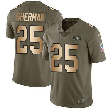 Nike 49ers #25 Richard Sherman Olive Gold Men's Stitched NFL Limited 2017 Salute To Service Jersey