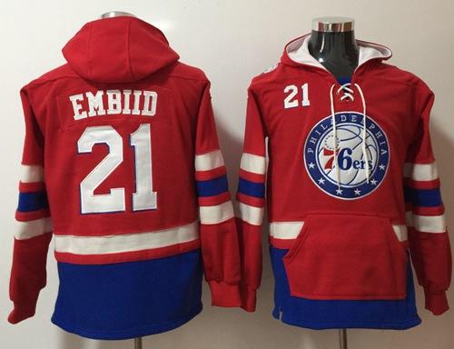 76ers #21 Joel Embiid Red Name & Number Pullover NBA Hoodie