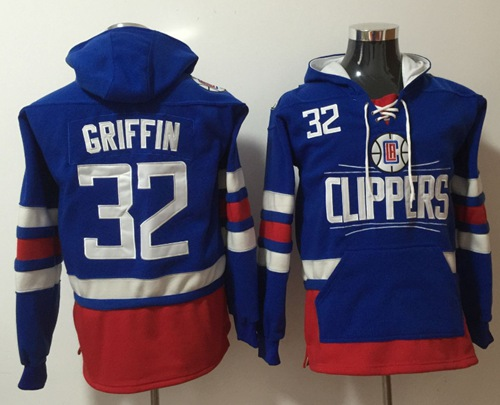 Clippers #32 Blake Griffin Blue Name & Number Pullover NBA Hoodie