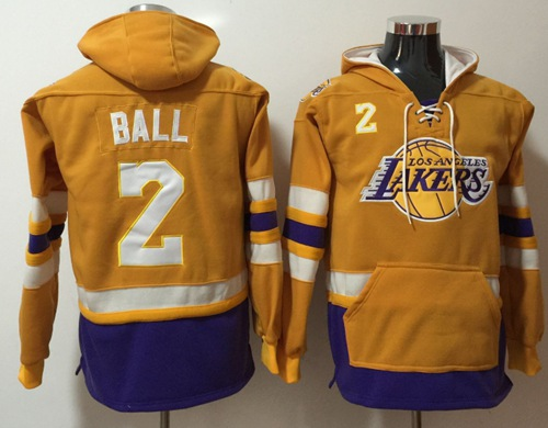 Lakers #2 Lonzo Ball Gold Name & Number Pullover NBA Hoodie