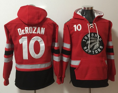 Raptors #10 DeMar DeRozan Red Name & Number Pullover NBA Hoodie