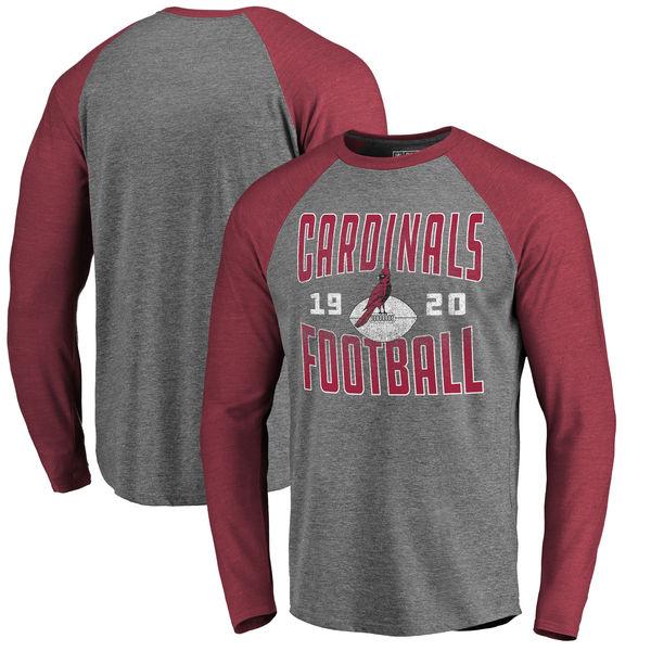 Arizona Cardinals NFL Pro Line by Fanatics Branded Timeless Collection Antique Stack Long Sleeve Tri-Blend Raglan T-Shirt Ash